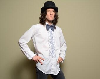 mens shirt vintage 70s 80s ruffle tuxedo shirt blue trim French cuff cufflink Crystal large 33 34 wedding tuxedo formal prom