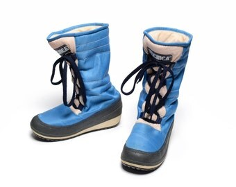 vintage 70s Tecnica moon boots blue white ski winter boots 1970 Saba Italy size 37/38 spaceman cosplay 7 7.5
