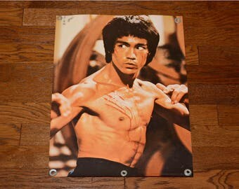 vintage 70s Bruce Lee poster Enter the Dragon 1977 Ziv International 14-587 signed by Sifu Jim Sewell student JKD Jeet Kune Do 20x28