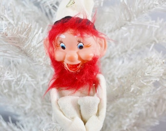 Vintage Christmas Knee Hugger Elf Ornament Red Head Ginger Beard White Black Gold Large Felt Pixie Japan 1960's