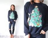 20% OFF BLACK FRIDAY Sale Vintage ugly christmas sweatshirt // cute christmas jumper // black tree sweatshirt // ugly christmas oversized sw