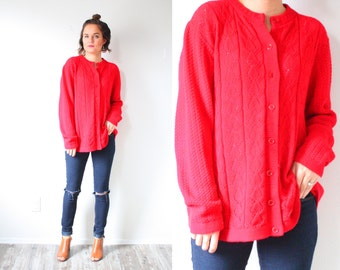 Vintage red sweater cardigan // women's button down sweater // oversized sweater // hipster sweater // Mens women large button down top