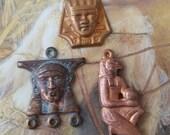 Vintage Old Brass Egyptian Revival Pendants Awesome Verdigris