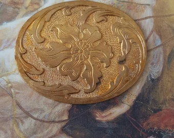 Very OLD Brass Scrolled Etched Floral Detailed Piece