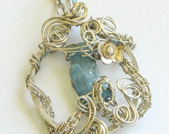 Raw Natural Aquamarine Stick Wire Wrapped Silver Pendant Necklace March Brithstone