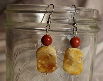 Red Jasper and Stone Bead Earrings