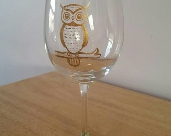 Indie Owl wine glass- hand-painted and dishwasher safe!