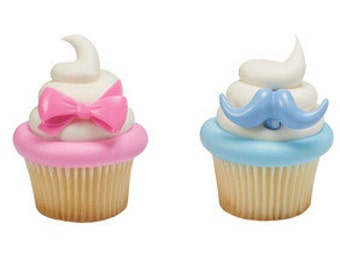 Bow and Mustache Cupcake Rings/ Gender Reveal Party