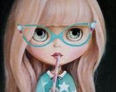 Blythe doll print, vintage glasses, art print decor, blyhe dolls, blythe doll, big eyes doll painting, doll art, blythe doll, pop surrealism