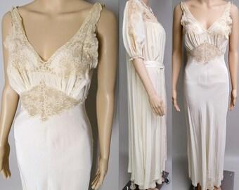 Vintage 1930s Peignoir Set | Burlesque Set | peignoir set | 1930s Lingerie | 1930s Burlesque Set | 1930s Gown | 30s Gown | 30s Nightgown