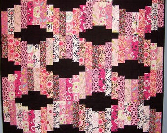 Ready to Ship, Modern Lap Quilt, Handmade, Birthday Gift, Black and Pink Quilt, Quilts For Sale, Coverlet, Custom, Busy Hands Quilts
