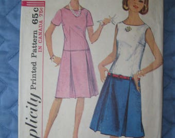 1960's Simplicity 5844 Dress Teen Size 16T Bust 36 Sewing Pattern