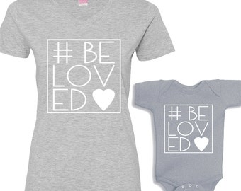 Valentine's #BeLoved Mommy and Me Heather Shirt Set
