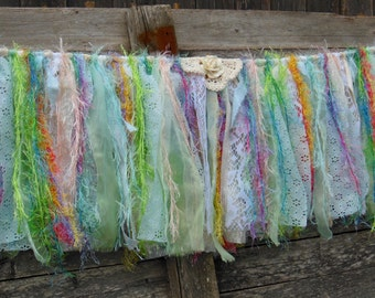 "colorful tied fabric banner, boho home decor, 1st birthday, nursery wall hanging, window swag, 36"" X 11"""