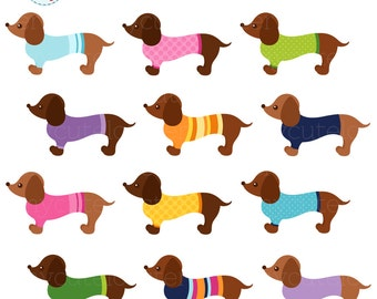 Sweater Dachshunds Clipart Set - sausage dogs with sweaters, cute dogs, dachshund - personal use, small commercial use, instant download
