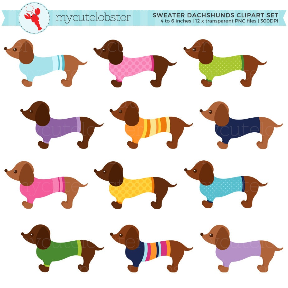 Sweater Dachshunds Clipart Set Sausage Dogs With Sweaters