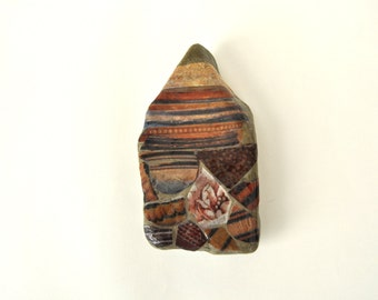 London Rocks - Mudlarking London - historic ceramics collage on stone - paperweight