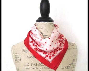 "Red and White Heart Design Scarf / Vintage 1970s / 20"" Square Polyester Pocket Handkerchief / Neckerchief / Hankie / Valentine"