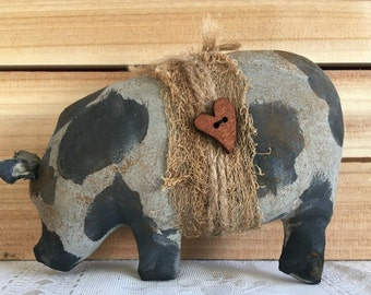 primitive pig - pot bellied pig - pot belly pig - spotted hog - primitive pig decor - farm decor - barnyard - country primitive decor