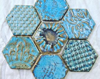 Magnet Set, Fridge Art, Refridgerator Blue Magnet Set, under 25, textured, Hexagon tile magnet, fridge magnet, ceramic pottery magnets,