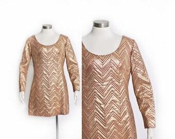 Vintage 60s Dress - Gold Lame Chevron Mini Mod Logo Dress 1960s - Large L