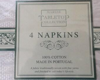 Portugal Damask 4 napkins,Luxury  Damask Linen ,New old stock Original sealing. Gift idea.