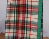 Large Wool Blanket CUTTER Special Price Red Green White Tartan