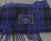 Gorgeous Purples HIGHLAND Tartan Tweed Throw Scotland Travel Rug Heavy Weave