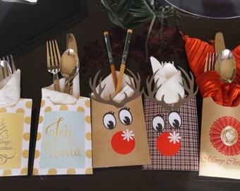 Christmas Utensil holder, Christmas Table favors, Holiday Utensil holder favors, Christmas table decoration.  Set of 12.