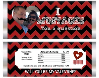 I Mustache You a Question, Will You be my Valentine? Valentine's Day Candy Bar Wrapper, I Mustache you, I mustache you a question.Set of 20.