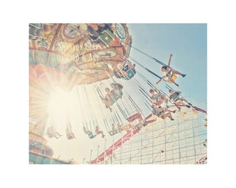 Santa Cruz Photography. Santa Beach Boardwalk. Carnival Swings. Summer. Sunshine. Sun Rays. Blue. Happy. Home Decor. Wall Art