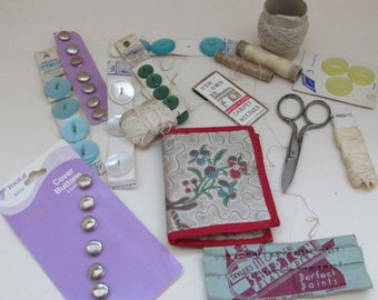 A Lot of Vintage Sewing Items - Buttons, Threads, Needle Case Etc