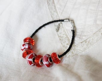 Modular bracelet on eco leather strap, red and white glass and acrylic beads, modern eco, minimalist summer bracelet, red wine,
