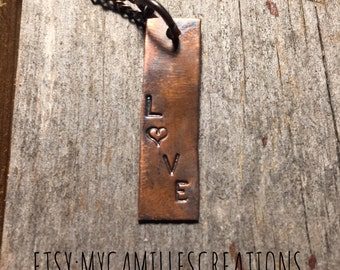 Love Necklace - Patinaed Copper Pendant Necklace handstamped with LOVE