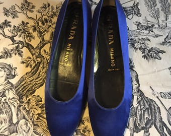 Vintage 90s Blue Satin Ballerina Shoes Prada