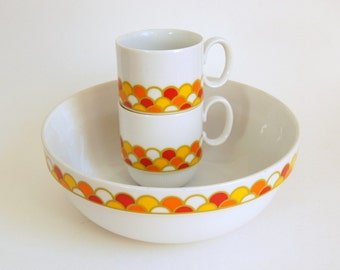 Georges Briard Carousel, Mod Vintage Dishes, Serving Bowl Cups, 1970s Japan Dinnerware