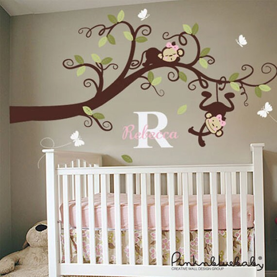 Baby Girl Nursery Decal,  Monkeys on branch Decal