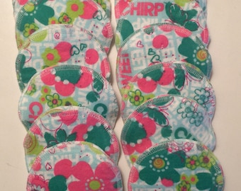 Nursing pads/Facial Wipes 12 sets (24 total) made with 4 layers of 100% cottlon flannel FLowers and Butterfly Pattern