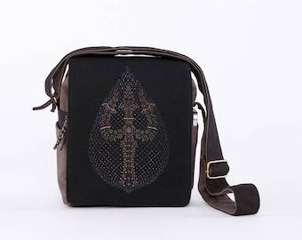 Trishul Small Shoulder Bag, Cross Body Bag, Side Bag, Small Travel Bag, Screen Print, Small Canvas Bag, Crossbody Festival Bag