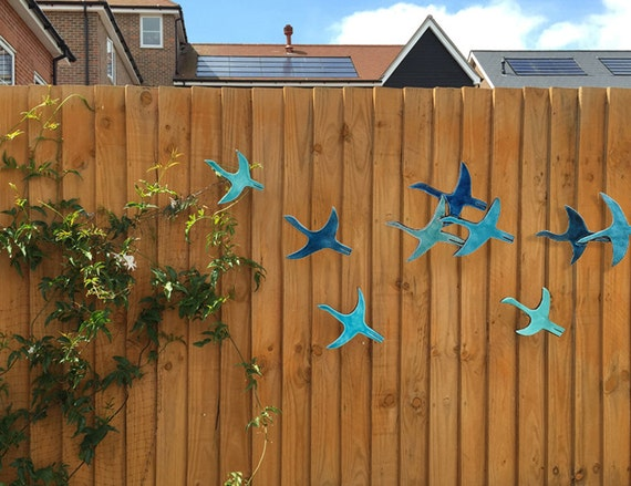 9 flying birds outdoor wall art made from ceramic that pop out for Outdoor wall art ideas