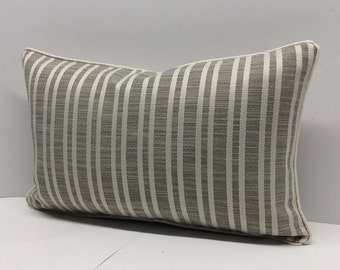 Neutral Stripped and Pipped Decorative Pillow Cover