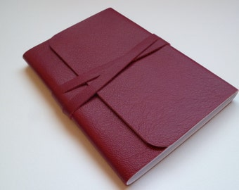 Journal Leather Journal. Leather Notebook. Leather sketchbook. Soft Red Fine Grained Leather.