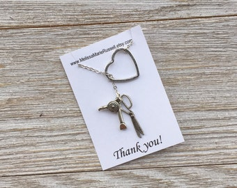 Hairdresser, scissor and blow dryer charms and heart, silver, lariat necklace, handmade jewelry