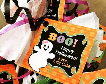 Personalized Halloween Girl Ghost Treat Tags or Labels - ANY Wording - Ghost and Ghoul Collection