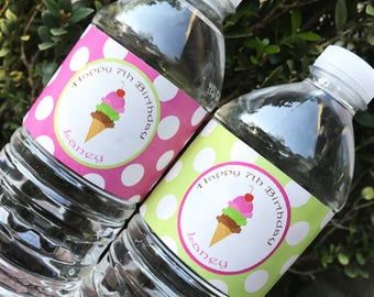 Ice Cream Water Bottle Labels - Printable or Printed with FREE Shipping - Pink Bubblegum on Top Collection