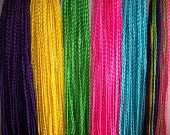 "Braids Pre- Braided Crochet Colored Braids 25"""