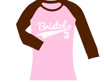 Personalized Sports Jersey Swoosh Birthday Shirt -  cropped/long sleeve fitted raglan shirt - any age and name - pick your colors!