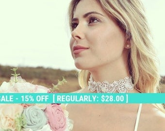 SALE! lace bridal necklace, lace choker, bridal necklace, romantic lace choker, ivory lace collar
