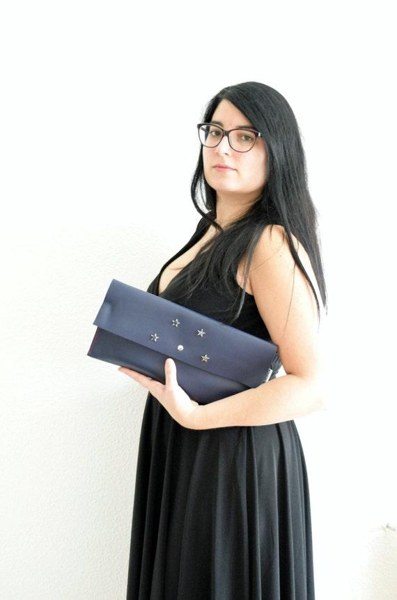 Blue clutch,leather handbag,stars clutch,stars handbag,navy blue leather,leather clutches,leather handbags,blue clutches,navy blue clutches