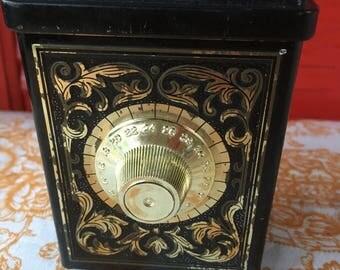 Vintage 1970s Avon collectible tin bank old safe style
